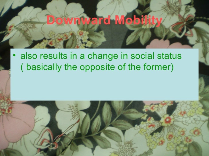Downward Mobility <ul><li>also results in a change in social status ( basically the opposite of the former) </li></ul>