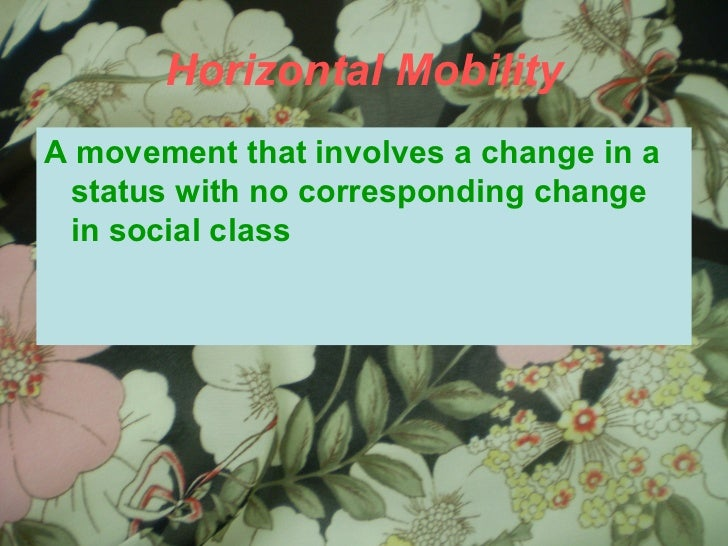 Horizontal Mobility <ul><li>A movement that involves a change in a status with no corresponding change in social class </l...