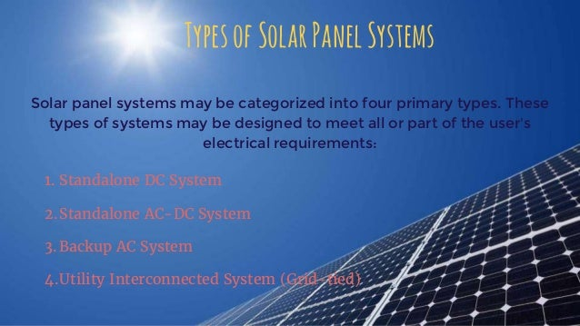 Different Types Of Solar Panel Systems