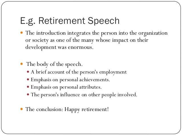 Types of speech for Retirement speech template