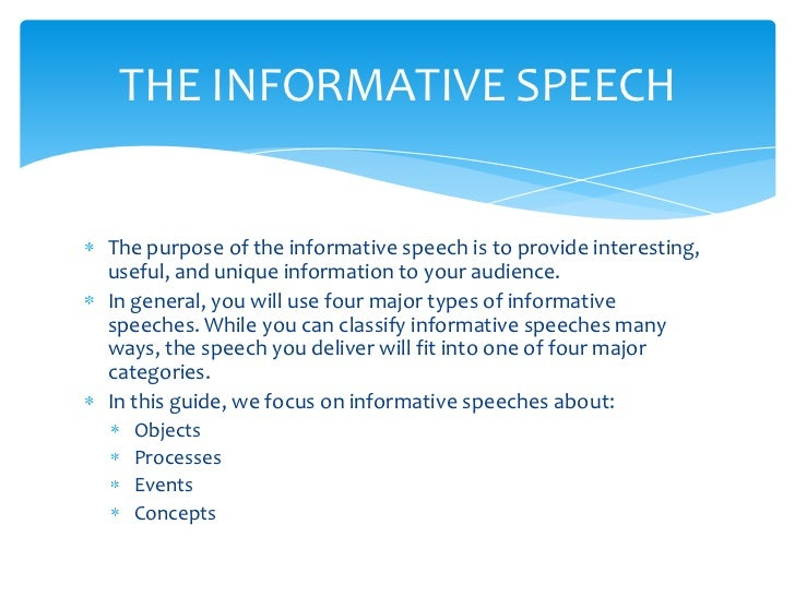 what is a informative speech Informative speech essay 855 words | 4 pages type of speech would the speaker choose well chapter 13 contents the creative process for informative speaking.