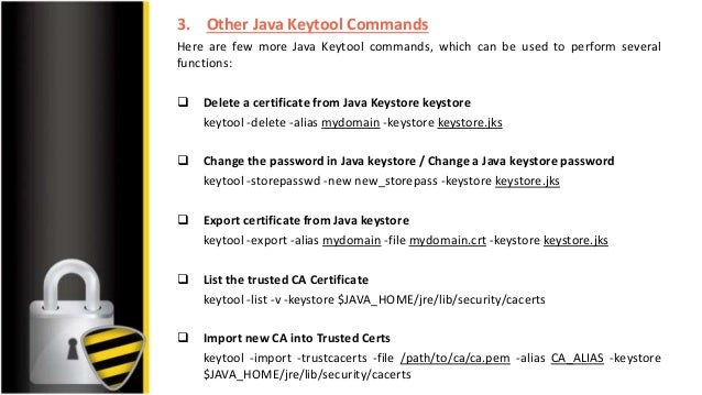 Types of ssl commands and keytool