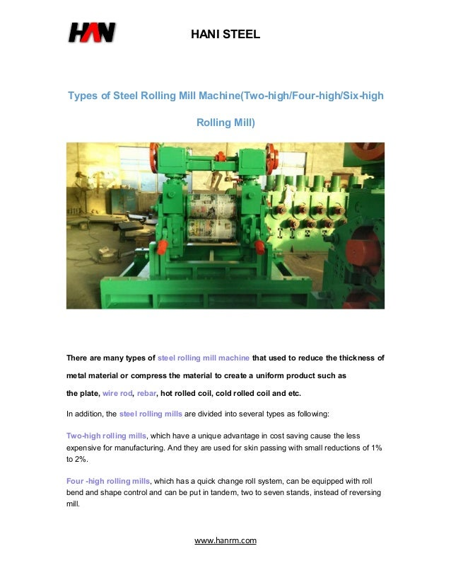 Types of Steel Rolling Mill Machine