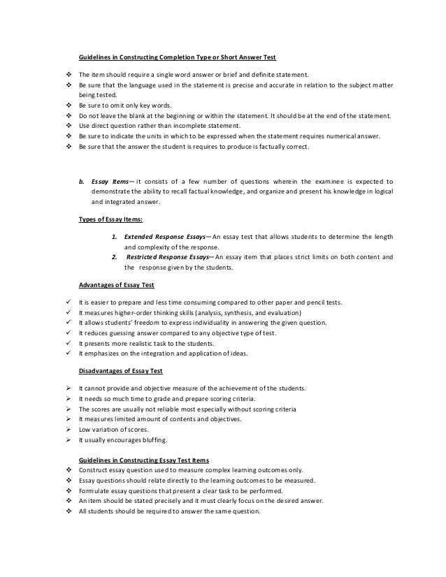 essay items to test students achievement