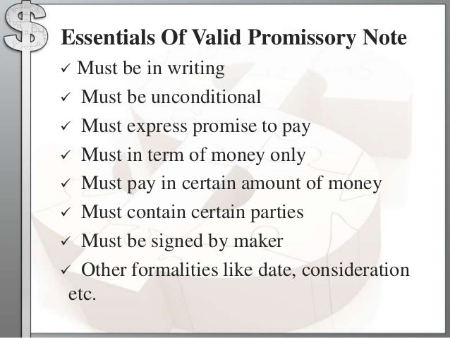 Types of the negotiable instruments – Promissory Note Parties