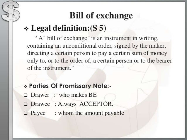 Types of the negotiable instruments – Bill of Exchange Sample