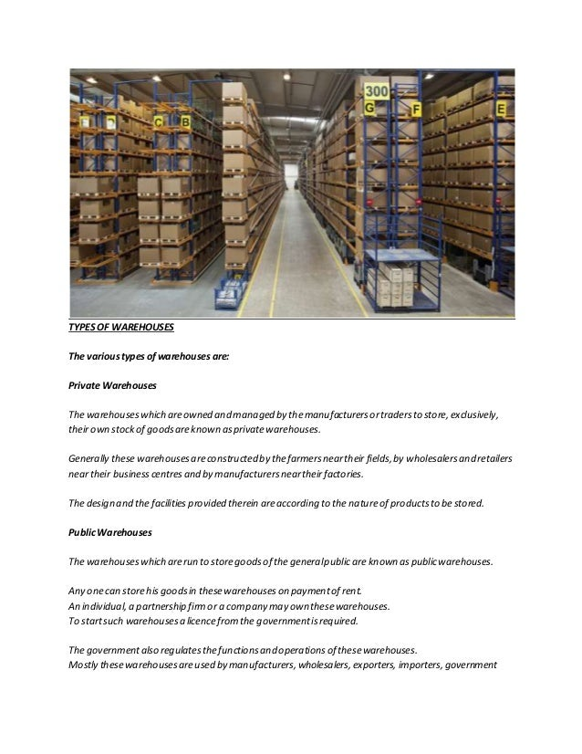 Types of warehouses by godamwale com