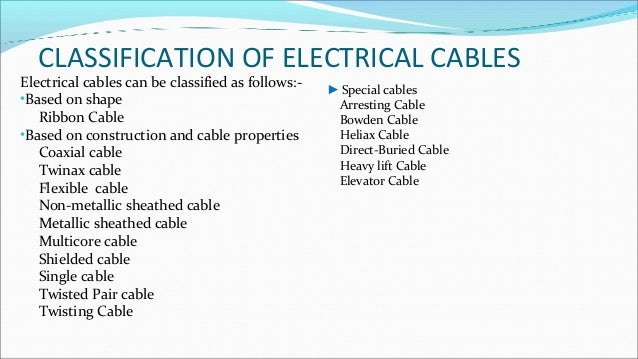 Types of wires and cables ic