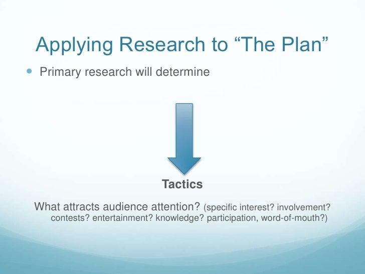 next steps</li></li></ul><li>Types of Research<br />Formal Informal<br />SecondaryPrimary<br />QualitativeQuantitati...