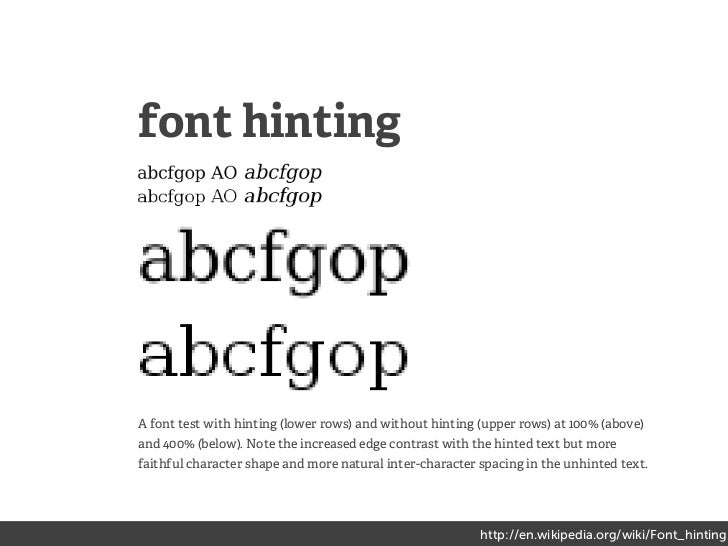 font hintingA font test with hinting (lower rows) and without hinting (upper rows) at 100% (above)and 400% (below). Note t...