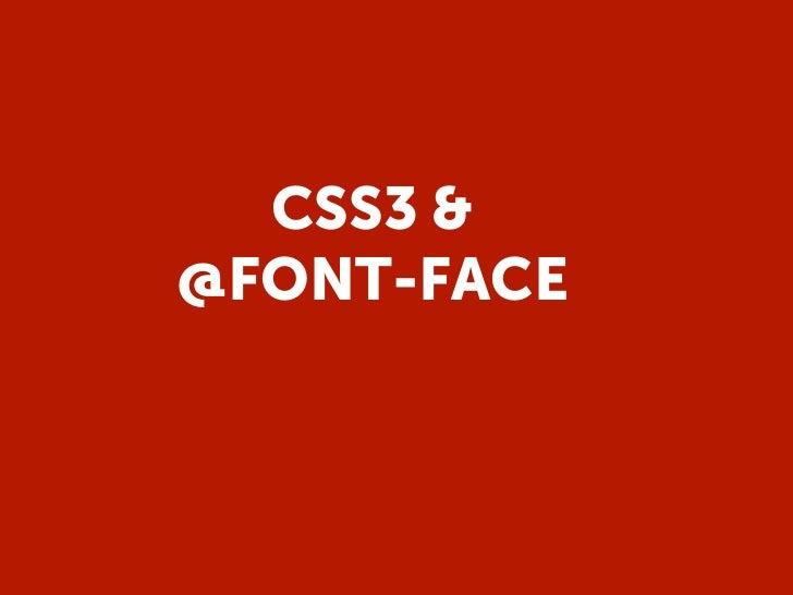 CSS3 &@FONT-FACE