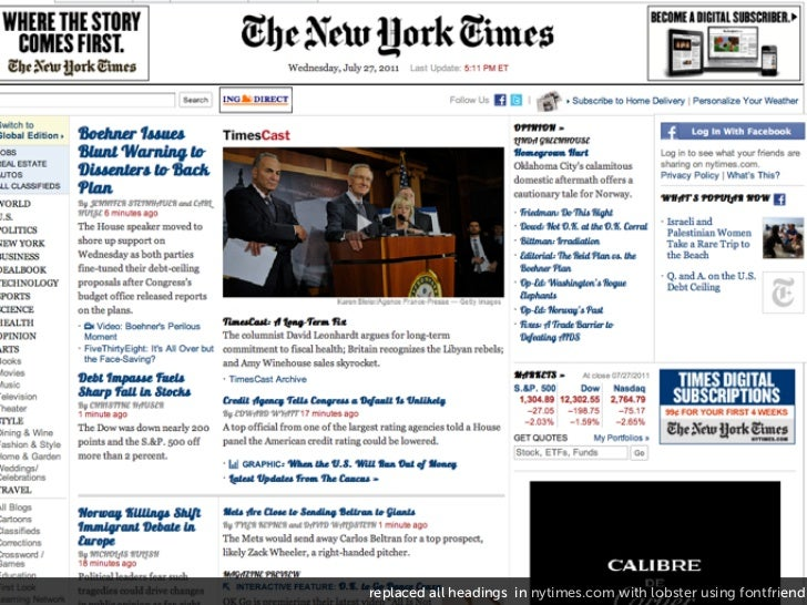 replaced all headings in nytimes.com with lobster using fontfriend