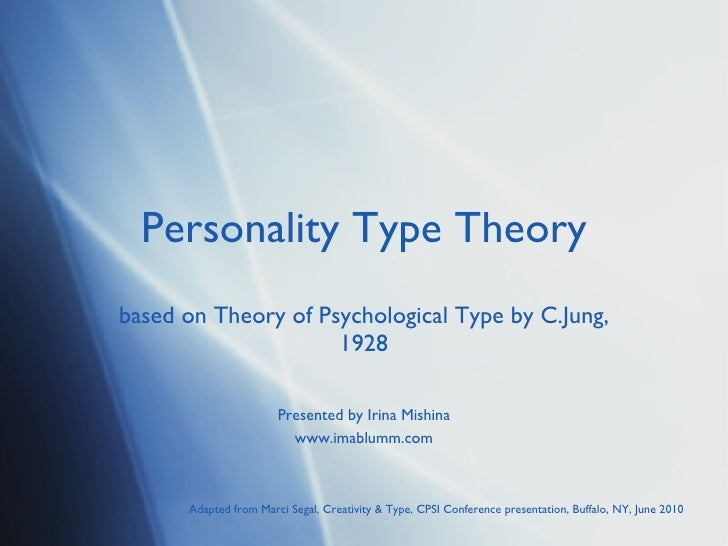 Personality Type Theory based on Theory of Psychological Type by C.Jung, 1928 Presented by Irina Mishina www.imablumm.com ...