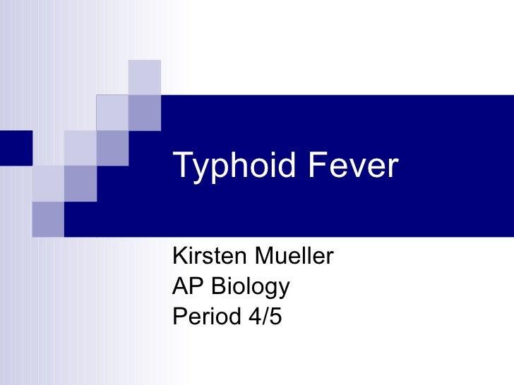 Typhoid Fever Kirsten Mueller AP Biology Period 4/5