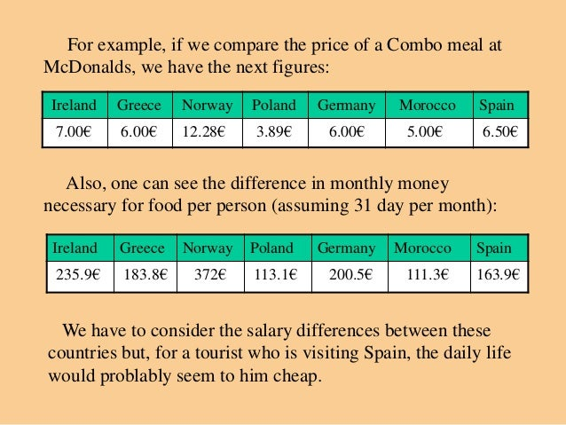 For example, if we compare the price of a Combo meal atMcDonalds, we have the next figures: Ireland   Greece   Norway   Po...