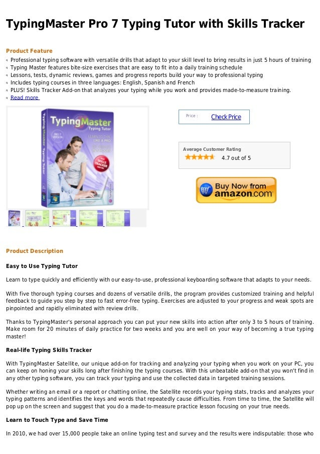 TypingMaster Pro 7 Typing Tutor with Skills Tracker Product Feature Professional typing software with versatile drills tha...
