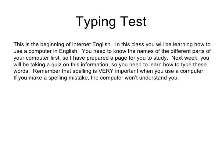 computer typing test english