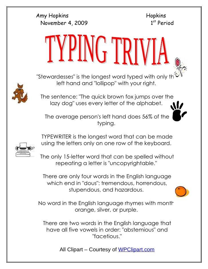 Typing Trivia Keyboarding Practice