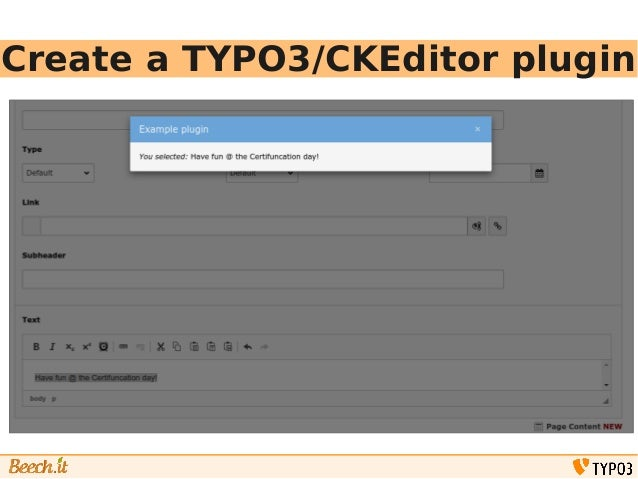 Create a TYPO3/CKEditor plugin