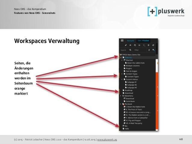(c) 2015 - Patrick Lobacher | Neos CMS 2.0.0 - das Kompendium | 12.08.2015 | www.pluswerk.ag Neos CMS - das Kompendium 118...