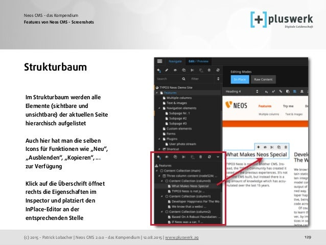 (c) 2015 - Patrick Lobacher | Neos CMS 2.0.0 - das Kompendium | 12.08.2015 | www.pluswerk.ag Neos CMS - das Kompendium 129...
