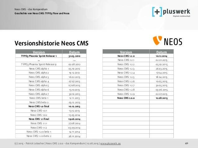(c) 2015 - Patrick Lobacher | Neos CMS 2.0.0 - das Kompendium | 12.08.2015 | www.pluswerk.ag Neos CMS - das Kompendium 40 ...