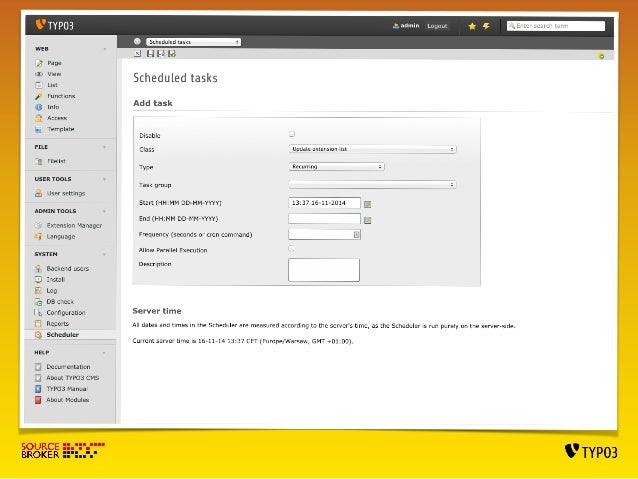 SIMPLE EXT WITH SCHEDULER TASK  Class with task:  Classes/Task/SampleTask.php  <?php  !  namespace VScheduler1Task;  class...
