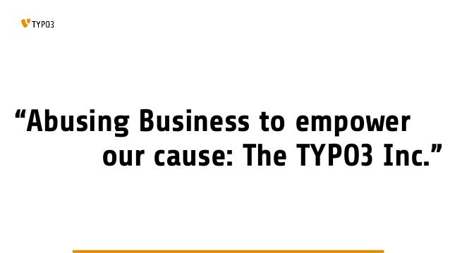TYPO3 Inc. Business Model Presentation