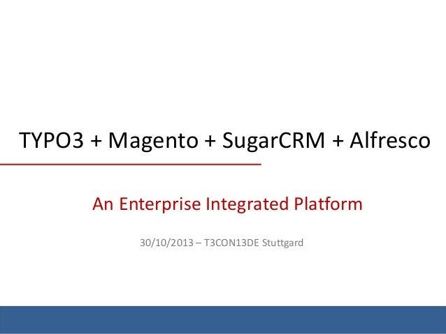 TYPO3 + Magento + SugarCRM + Alfresco An Enterprise Integrated Platform 30/10/2013 – T3CON13DE Stuttgard