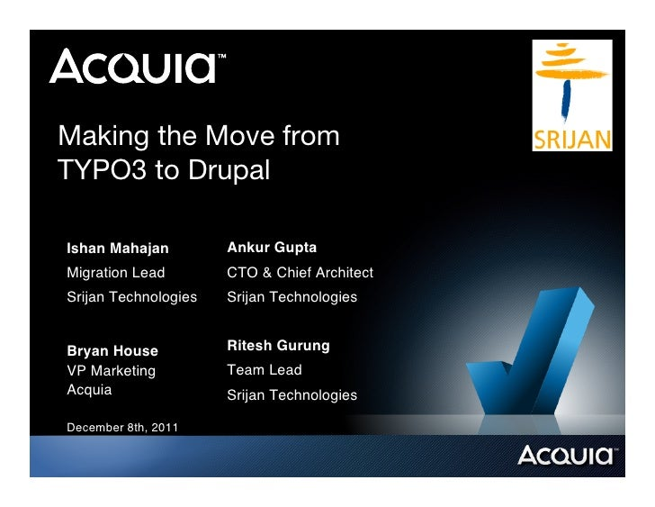 Making the Move fromTYPO3 to DrupalIshan Mahajan !        Ankur Gupta!Migration Lead!        CTO & Chief Architect!Srijan ...