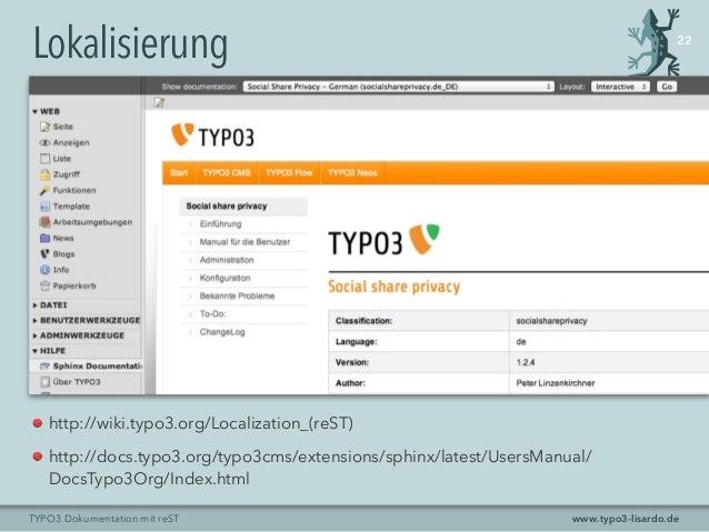 www.typo3-lisardo.deTYPO3 Dokumentation mit reST Lokalisierung 22 http://wiki.typo3.org/Localization_(reST) http://docs.ty...