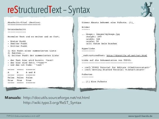 www.typo3-lisardo.deTYPO3 Dokumentation mit reST Abschnitt-Titel (Section) ========================= Unterabschnitt ------...