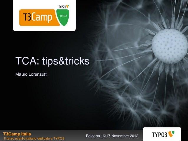 TCA: tips&tricks       Mauro LorenzuttiT3Camp Italia                               Bologna 16/17 Novembre 2012Il terzo eve...