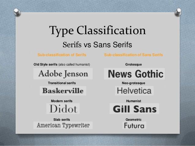 Type Classification                    Serifs vs Sans Serifs  Sub-classification of Serifs            Sub-classification o...