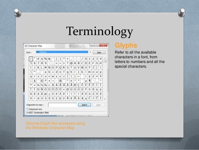 Terminology                                  Glyphs                                  Refer to all the available           ...