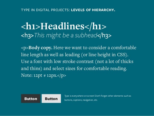 type in digital projects: levels of hierarchy. <h1>Headlines</h1> <h3>This might be a subhead</h3> <p>Body copy. Here we w...