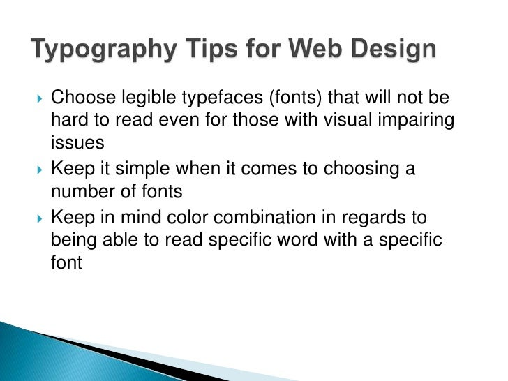 Continued…   Make sure to add a fallback font in case a user    has a browser that does not support your web fontEXAMPLE:...