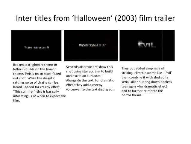 Inter titles from 'Halloween' (2003) film trailer  Broken text, ghostly sheen to Seconds after we are show this letters –b...