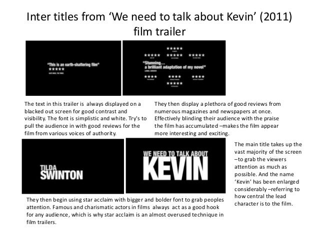 Inter titles from 'We need to talk about Kevin' (2011) film trailer  The text in this trailer is always displayed on a bla...