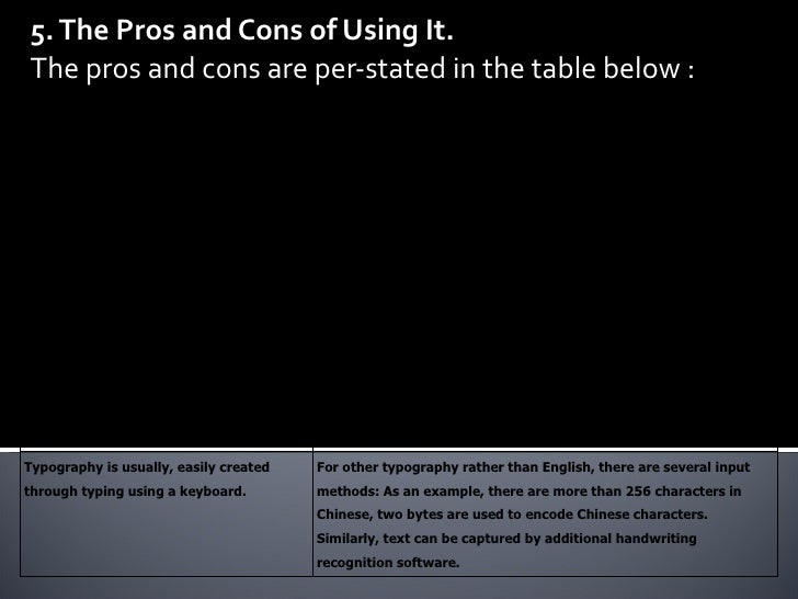 5. The Pros and Cons of Using It. The pros and cons are per-stated in the table below : PROs CONs Compared to other multim...