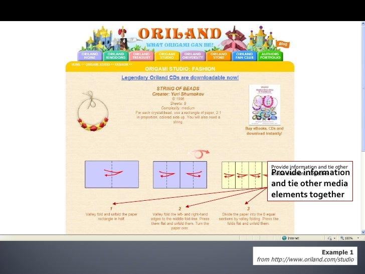 Example 1 from http://www.oriland.com/studio Provide information and tie other media elements together Provide information...