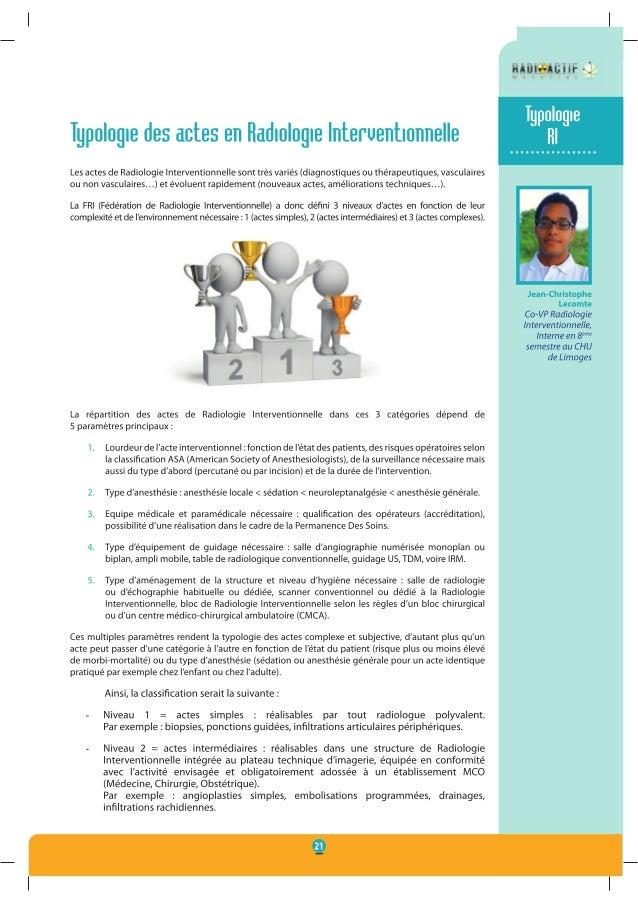 Typologie des actes en radiologie interventionnelle