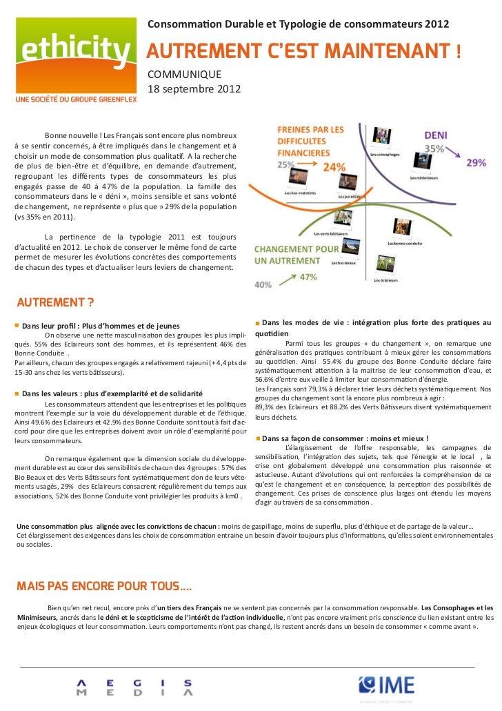 Consommation Durable et Typologie de consommateurs 2012                                              AUTREMENT C'EST MAINT...