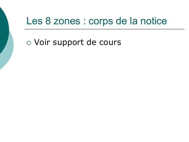 Les 8 zones : corps de la notice Voir support de cours