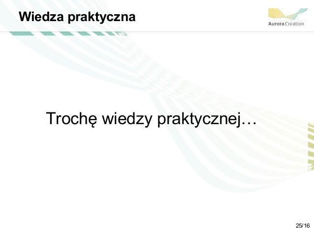 Wiedza praktyczna Trochę wiedzy praktycznej… 25/16