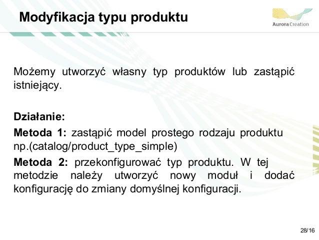 Modyfikacja typu produktu Możemy utworzyć własny typ produktów lub zastąpić istniejący. Działanie: Metoda 1: zastąpić mode...