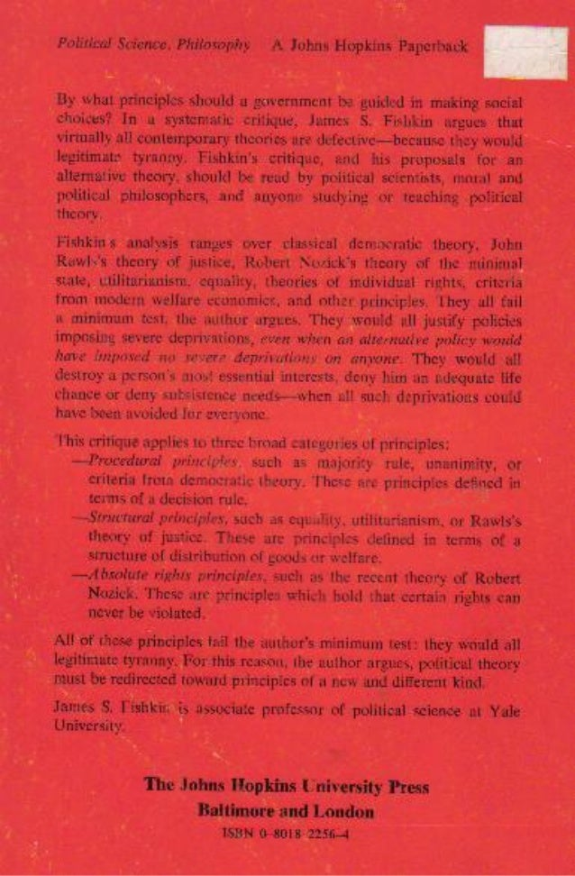 Tyranny and legitimacy   a critique of political theories - james s. fishkin - back cover