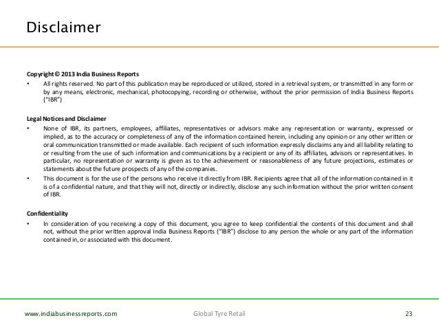 disclaimer template uk - organised retail in tyres global examples