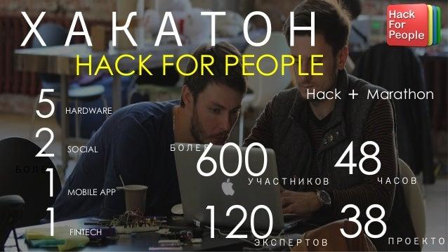 Hack Marathon+ 48ЧАСОВ 600БОЛЕЕ УЧАСТНИКОВ ХАКАТОН HACK FOR PEOPLE 5 HARDWARE 1MOBILE APP 1 SOCIAL 2 FINTECH БОЛЕЕ 38ПРОЕК...
