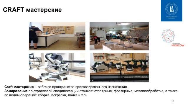 18   CRAFT мастерские Craft мастерские – рабочее пространство производственного назначения. Зонирование по отраслевой сп...